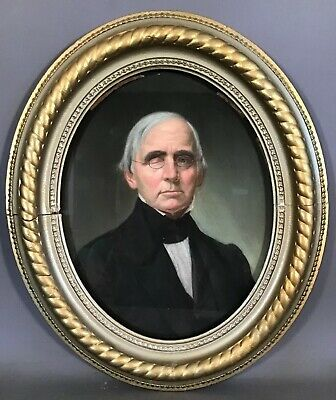 19thC Antique VICTORIAN ONE EYED GENTLEMAN PORTRAIT Old ESTATE Pastel PAINTING