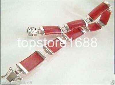 18k GP Natural red jade Women's Perfect Link Chain Bracelet