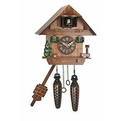 Quartz Cuckoo Cottage Style Clock Two Pine Cone Weights with Moving Pendulum