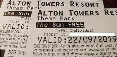 2 x Alton Towers Tickets - SUNDAY 22 SEPTEMBER
