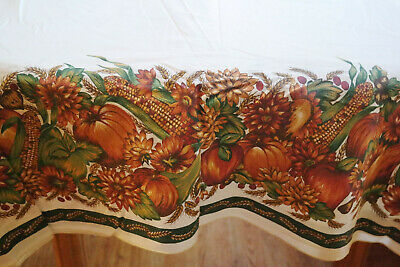 Fall Thanksgiving Tablecloth Colorful Mums Pumpkins Corn Nuts Wheat