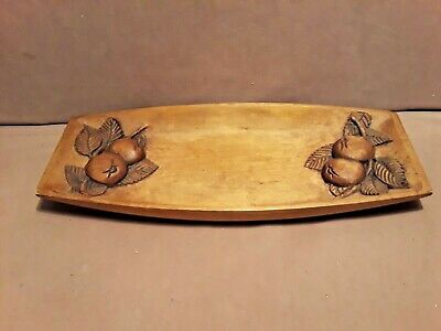 Vintage Antique Hand Carved Single Wood Dough Bowl / Tray