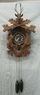 Large Vintage Regula Black Forest Cuckoo Clock Germany 2 Weight Carved Deer More