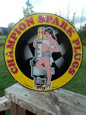 Old Vintage 1961 Champion Spark Plugs Porcelain Sign Pin Up Girl Usa Service