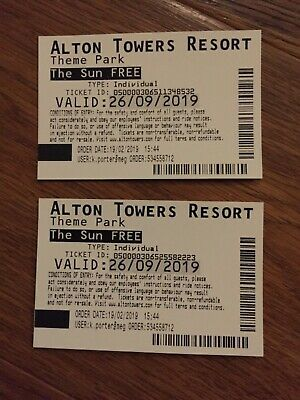 2 x Free Alton Towers Adult Tickets Valid Thursday 26th September 2019 26/09/19