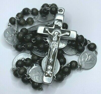 "† Scarce Antique ""Way Of The Cross"" Wood Chaplet Rosary Mori Memento Crucifix †"
