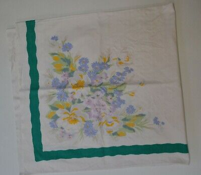 "Vintage Cotton Tablecloth w/ Green Band Cornflower Blue & Yellow Flowers 49""x54"""
