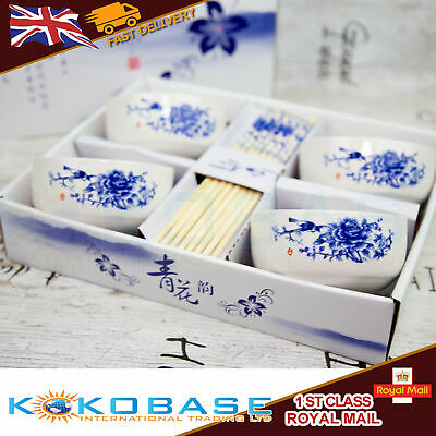 Ceramic White Chinese Japanese Rice Sushi Bowls Chopsticks & Chopsticks Rest