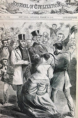 W.S.L. Jewett HOORAY for PRESIDENT GRANT 1869 Antique Engraving Print Matted