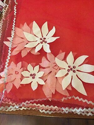 Vintage Christmas Tule And Poinsettias Tablecloth Cover
