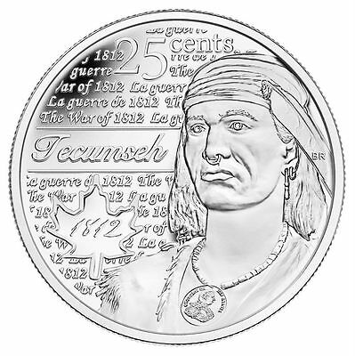 WAR OF 1812 - CHEIF TECUMSEH - 25¢ COIN 3rd OF SERIES- CANADA FROM MINT ROLL A