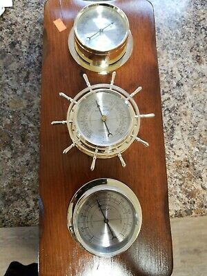 VTG Wall Springfield 3 Gauge Weather Station Humidity Temperature Barometer USA
