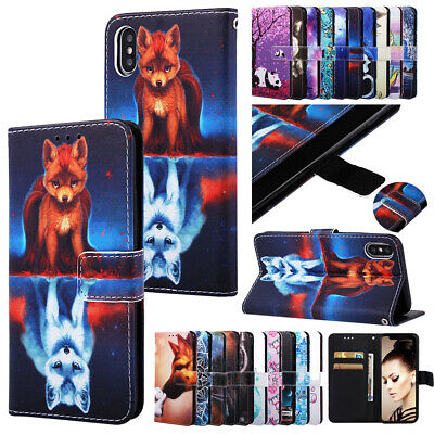 Patterned Leather Wallet Card Case Cover For iPhone 11 Pro Max 11 XR 6 7 8 Plus