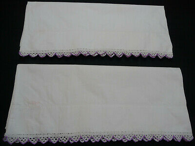 Vintage Pair Pillowcases Crocheted White/Lilac Scalloped Edge