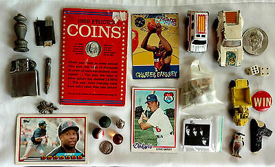 Junk Drawer, coins, sports cards, Beatles, Zippo, Clay Marble ,porcelain, dice