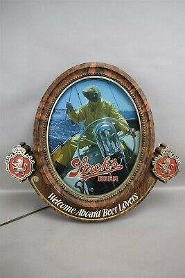 Vintage Stroh's Beer Light Bar Sign Wall Hanging Welcome Aboard Michigan