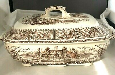 Aesthetic Movement Brown Trnasferware Grindley & Sons 1882 Large Tureen DAFFODIL
