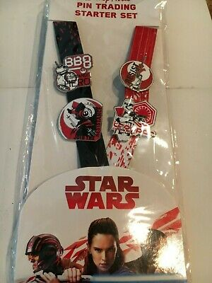 Star Wars The Last Jedi Booster Set Lanyard And Lot Of 4 Disney Pins ****NEW****