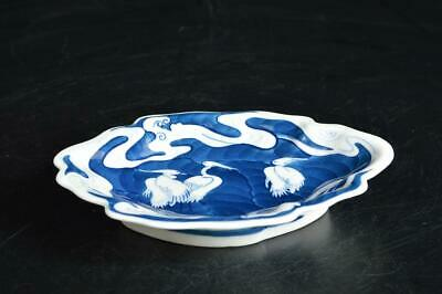 U4386: Japanese Arita-ware Bird Wave pattern ORNAMENTAL PLATE/Dish Tea Ceremony