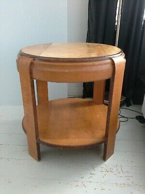 Art Deco Blonde Wood Round Two Tier Occasional Table Coffee Table