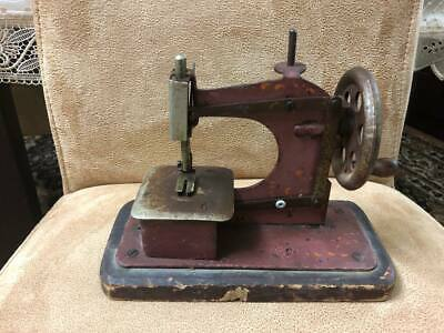 Rare Antique CAST IRON TOY HAND CRANK SEWING MACHINE MID CENTURY WOODEN BASE