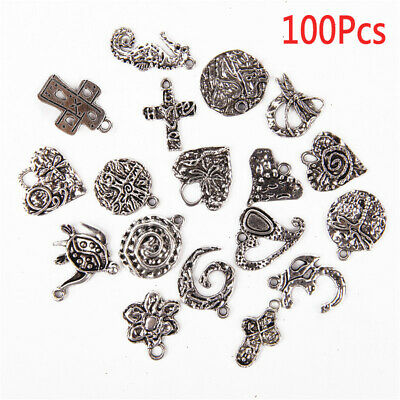 Wholesale 100 Mixed Tibetan Alloy Silver Charms Pendants Beads Spacers findings