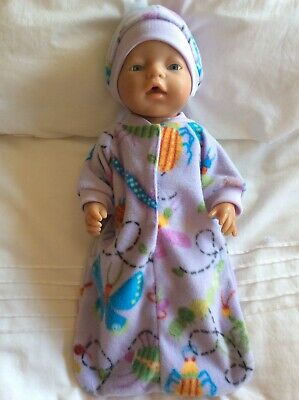 """Doll clothes - Sleeping Bag & Hat To Fit 17"""" Baby Born Doll ~ Lilac Butterflies"""