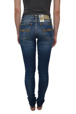 Nudie Jeans Organic Cotton Jeans Skinny Lin Compact Cloud Blue
