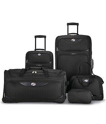 American Tourister 5-Piece Travel Softside Value Luggage Set Black for Family