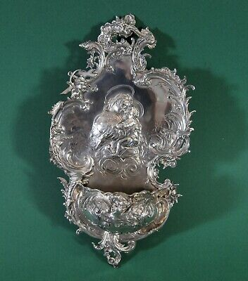 Antique silver Holy Water Font, 19th century
