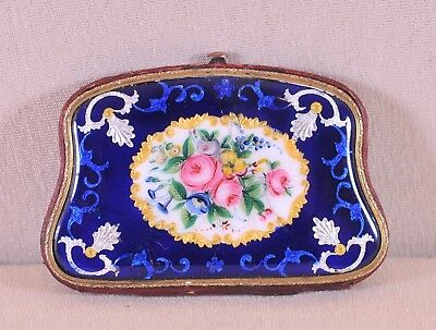 Antique delicately painted enamel ladies purse, porte-monnaie