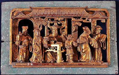 Antique Chinese court scene, hand carving gilded artwork