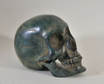Patinated bronze skull, paperweight