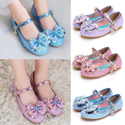 AU Girls Kids Bling Bow Party Wedding Princess Shoes Toddler Infant Dance Shoes