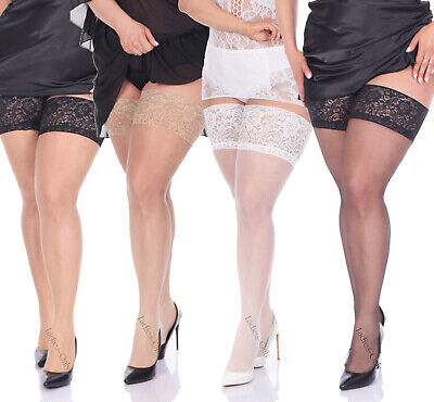 PLUS SIZE Hold ups 20 den Sheer Lace Top XL - 4XL New Stockings