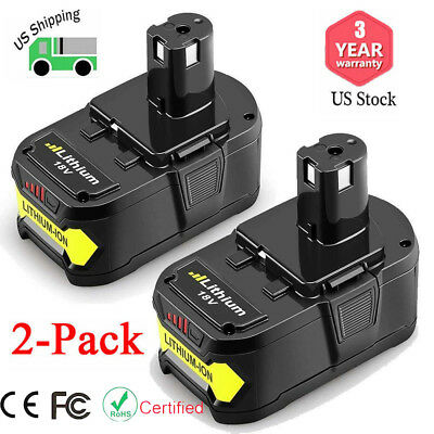 Replace for Ryobi P108 ONE+ 18V Li-Ion Battery 6.0Ah P102 P103 P104 P107- 2 Pack