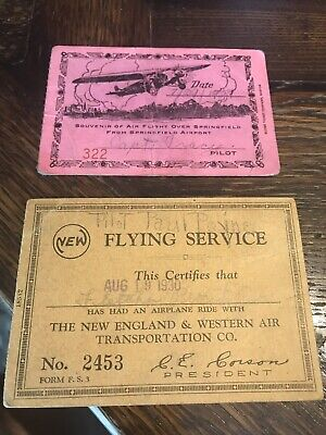 Antique 20s Airplane Ride tickets CARDS Airshow Flying Circus Barnstorming Pilot