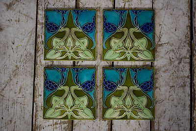 Antique Art Nouveau Tile By Rhodes c1906-8 (x4 Available)