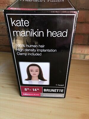 """14"""" Brunette Kate Manikin Head With Clamp  (100% Human Hair) In Box Never Used"""