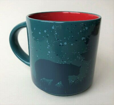 Tim Hortons Limited Edition 017 Coffee Mug Cup Ceramic Blue & Red Bears Canada
