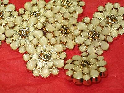 CHANEL 10  BUTTONS  sz 20mm BEIGE GLASS gold cc logo, 10 pc  FREE SHIPPING
