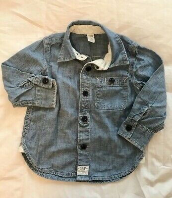 EUC Baby Gap Toddler Boys Chambray Button Down Denim Shirt Size 2 Years / 2T