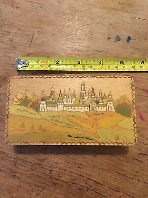 Vintage Wooden Postage Stamp Box With Inlaid Hand-painted Lid Village European