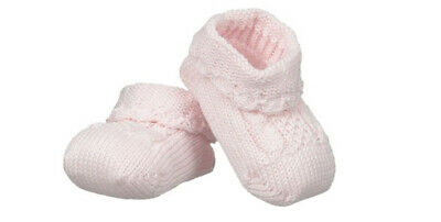NWT Jefferies Pink Cable Hand Crocheted Baby Booties Girls Shoes Size 0 Newborn