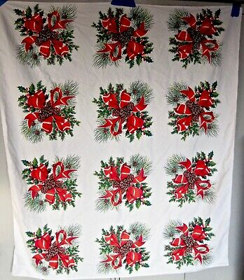 "Vintage Christmas Pine Cone Red Ribbon Motif Tablecloth - 56"" x 64"""