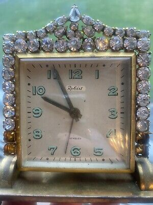 Gorgeous Vintage ORIGINAL BY ROBERTS Jeweled Rhinestones CYMA Alarm Clock