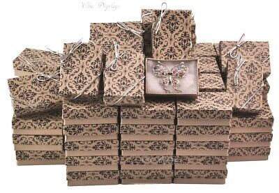 Kraft Damask Cotton Filled Boxes Lots Jewelry Gift Boxes Lot of 100Pc +FREE Bows