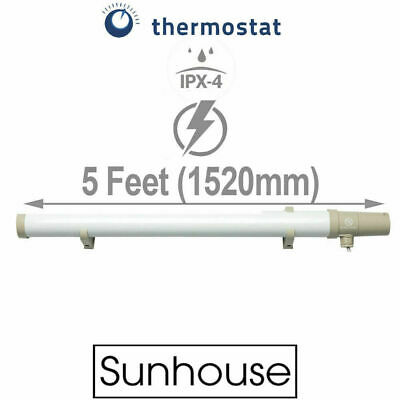 Tubular Heater with Built in Stat Thermostat 5FT Foot Tube 200W Sunhouse SHTTH5