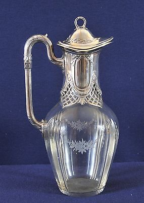 Antique Silber caraffe/ cut glass with baroque style silver top