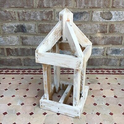 """15"""" White Wooden Lantern Farmhouse Shic Cage Accent Handmade"""